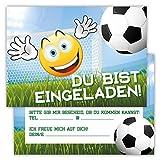 12 Lustige Einladungskarten im Set Kindergeburtstag Emoji Smiley Fussball Party Jungen Mädchen Kinder Partyspiele Karten Tor Kicken Stadion witzig