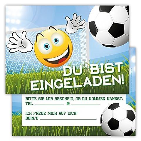 12 Lustige Einladungskarten im Set Kindergeburtstag Emoji Smiley Fussball Party Jungen Mädchen Kinder Partyspiele Karten Tor Kicken Stadion