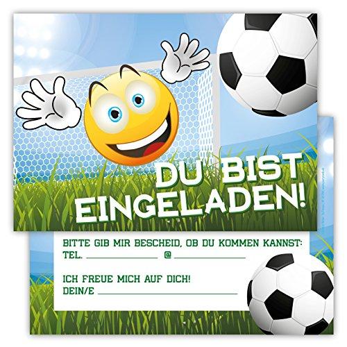 12 Lustige Einladungskarten im Set für Kindergeburtstag Emoji Smiley Fussball Party für Jungen Mädchen Kinder Partyspiele Karten Tor Kicken Stadion (Kostüme Fußball Mädchen)