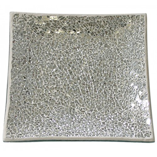 WATSONS MOSAIC - Sparkle Mosaic Square Decorative Plate/Trinket Dish - Silver