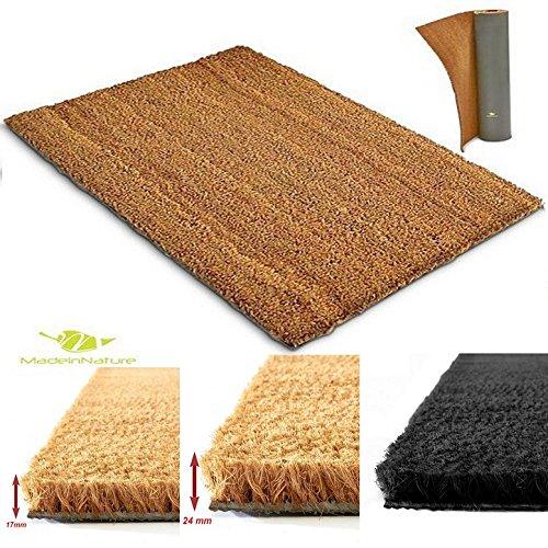 Tapis d'entrée en coco | Paillasson fibres en coco naturel – Effet nettoyant et grattant | Multi usages | Dimension et couleur au choix | MadeInNature (Largeur 40cm x longueur 60cm x Hauteur 17mm, Naturel)