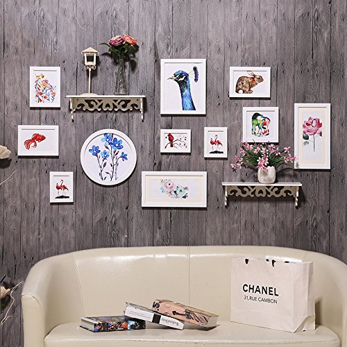 Hjky photo frame wall set creative foto an der wand nel soggiorno moderno minimalista cornice an der wand combinata parete attrezzata continental foto wall racks, pure white