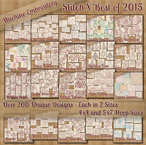 StitchX Best of 2015 Redwork Machine Stickmuster - 20 komplette Sets - über 200 Designs -