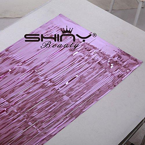 shinybeauty Folie Fransen pink-30ftx8ft, Lametta Folie Fransen Hintergrund/Vorhang für Türen, Fenster, Vorhang, Wand Deko, Party Accessoire