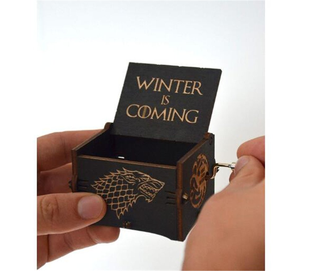 Cuzit Game of Thrones Movie Theme Music Box Wooden Engraved Hand Crank Musical Toy Winter is coming Tune Great Gift For GOT Fans Husband Friend Dad Father Man-Black 3