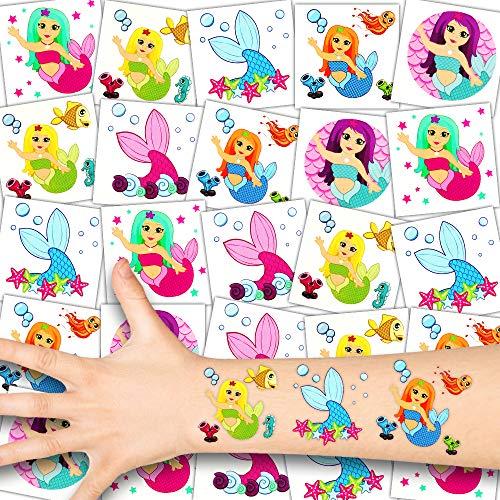 German Trendseller® 36 x Meerjungfrauen Kinder Tattoos - Set - Meerjungfrau- Party ┃ Kindergeburtstag ┃ Mitgebsel ┃36 Zauberhafte Tattoos für ()