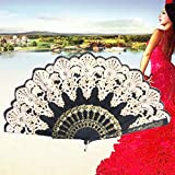 SLB Works Black Silk Folding Lace Hand Held Dance Spanish Style Fan Sequins Flower