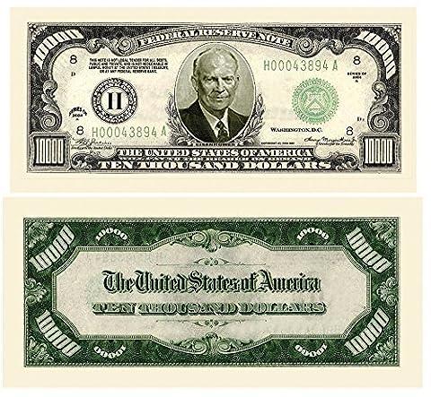 $10,000.00 Authentic Eisenhower Dollar Bill (25 Bills) by American Art Classics