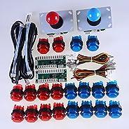 Reyann 2 giocatori Kit di gioco arcade fai da te, 2x 5pin Joystick + 20x LED Pulsanti + 2x Encoder USB Zero De