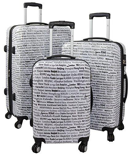 Trendyshop365 Hartschale Koffer-Set City Städte 3-teilig Schwarz-Weiß