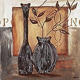 Artland Qualitätsbilder I Bild auf Leinwand Leinwandbilder Wandbilder 50 x 50 cm Stillleben Vasen Töpfe Malerei Braun A9UL Braune Vasen mit Deko II