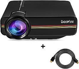 Mini Beamer, Deeplee DP400 LED LCD Projektor 1200 Lumen HD für USB / HDMI / VGA / AV / SD Heimkino Videoprojektor für USB-Stick Festplatte PC Laptop iPhone Android Smartphone Filme und Video Spiele - Schwarz
