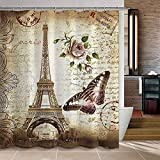 RISHIL WORLD 180x200cm Paris Bathroom Shower Curtains Eiffel Tower Waterproof Fabric & Hooks Single Item.