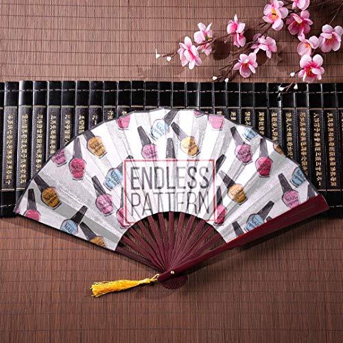 AGIRL Handheld Folded Fan Bunte Nagellack Mit Bambusrahmen Quaste Anhänger Und Stofftasche Hand Fan Fan Falten Oriental Fan Hand Fan Handwerk