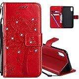 COTDINFOR iPhone X Hülle für Mädchen Elegant Retro Premium PU Lederhülle Handy Tasche mit Magnet Standfunktion Schutz Etui für iPhone X/iPhone 10 Red Wishing Tree with Diamond KT.