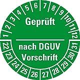 LEMAX® Prüfplakette Geprüft-DGUV Vorschrift, 22-31, grün, Dokufolie, Ø 30mm, 18/Bogen