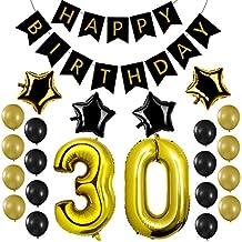 Czemo Decoración Cumpleaños 30 Años Kit de Decoraciones de la Fiesta de Cumpleaños + Bandera del