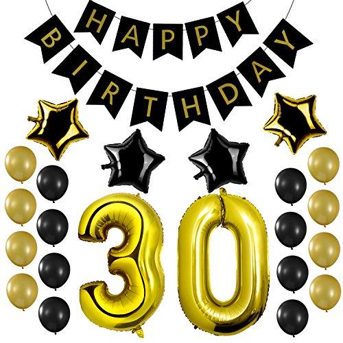 Czemo Decoración Cumpleaños 30 años Kit de Decoraciones de la Fiesta de cumpleaños + Bandera del Feliz Cumpleaños + Globos de látex + Globo número 30 + Globos de Estrellas