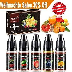 STARKIT E Liquids 5 X 10ml,Frucht Geschmack für E Zigarette Starter Set SMOK E Shisha,E Liquid Aroma PG70/ VG30 0mg Ohne Nikotin Blaubeere|Erdbeere|Wassermelone|Pfirsich|Kirsche Ejuice(Frucht)