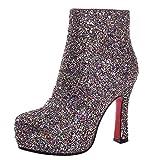 YE Damen Blockabsatz Ankle Boots Glitzer Stiefeletten Plateau mit Reißverschluss und Pailletten 12cm Absatz Elegant Modern Schuhe