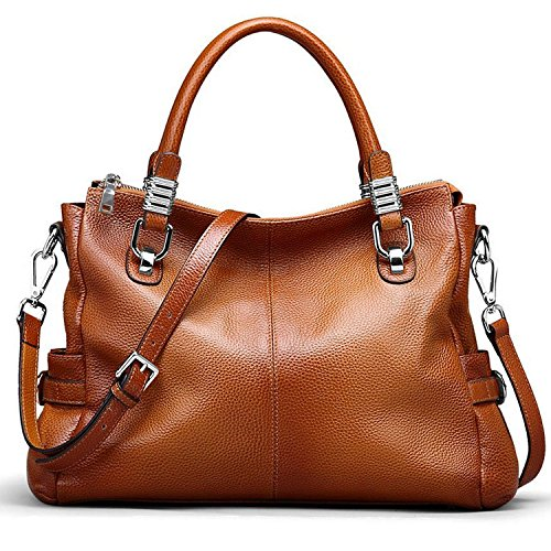 Yaluxe Damen elegant sexy weich Leder Schultertasche Handtasche braun (Damen Echt Leder)