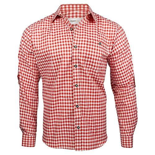 Alpenmode Trachtenhemd für Herren Vers.gr. S-XL/Hemd Oktoberfest Freizeit Lederhosen (Rot, L)