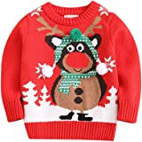 MEIbax Moda navideña Nueva Navidad Dibujos Animados Niño Niña Cuello Redondo Manga Larga Suéter Superior Suéter de Punto cáli