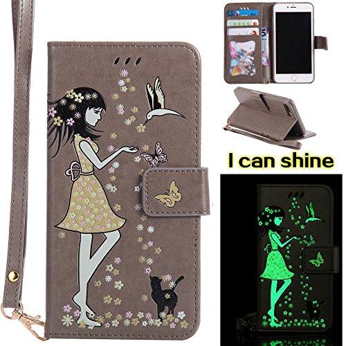 UKDANDANWEI Apple iPhone 7 Plus Case, noctilucent modèle Etui Supporter Flip PU Cuir Pochette Portefeuille Housse Coque avec Crédit Carte Tenant Fente pour Apple iPhone 7 Plus - Doré Gris