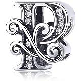 BAMOER Abalorios Letras Charms Plata de Ley 925 Originales Clásico Dije Letra Abalorios para Pulseras Collares