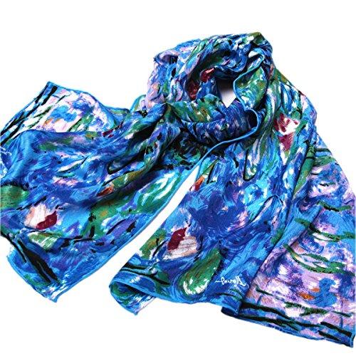 Pettystern P585 - 160cm Malerei Kunstdruck Seide Schal - Claude Monet - die Wasserlilien - Hand Gerollt Seide Schal