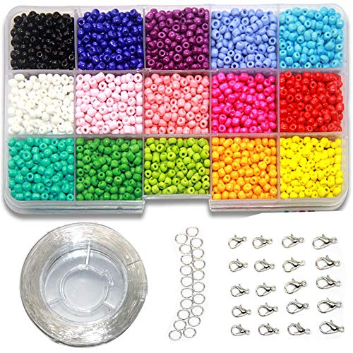 Ewparts 3mm Mini Glasperlen für Kinder DIY Armband Art & Jewellery-Making, Perlen Zum Auffädeln Perlenschnur Making Set, Fadeless Farbe (Full color)