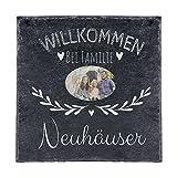 Personello Schiefer Türschild mit Foto und Familien Namen personalisiert (20x20), Deko für die Wand oder zum Aufstellen
