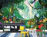 Wapel Fototapete Mode Moderne Cartoon Traum Worte Wald Bäume Gras Pilze Zu Fuß Weg Kinder Haus Wallpaper Seidenstoff 200x140CM