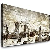 Julia-Art Leinwandbilder - 120 mal 50 cm Bild Hamburg Skyline, Stadt Wandbilder sind fertig gerahmt - verschiedene Motive - Kunstdrucke XXL Panorama Ha-01-8