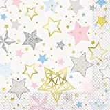 Unique Party 72412 Folie Twinkle Little Star Papier Servietten, 16 Stück