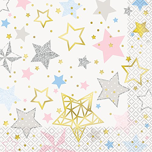 Unique Party 72412Folie Twinkle Little Star Papier Servietten, 16Stück (Folie Abendessen)