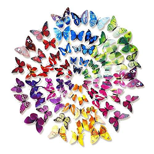 Forepin® 72Pcs Pezzi 3D Farfalle Magnete Casa Camera Frigo Decorazioni Animal Wall Sticker Adesivi Murali Adesivi da Parete con Colla Stick - Colore Farfalle