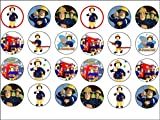 24 Fireman Sam Theme Edible Wafer Paper Cup Cake Toppers by CakeThat