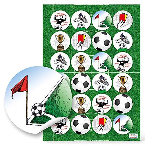 48 adesivi da calcio rotondi 4 cm cancello giallo carta pokal angolo calciatore scarpe da calcio per fai da te come chiusura regalo per sacchetti di carta etichette per decorazione campionato del mondo