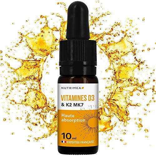 VITAMINES D3 K2 MK7  100% Pure et Naturelles avec Huile d'Olive Bio  Renforce l'immunité, santé dents, os, muscles Flacon compte-gouttes