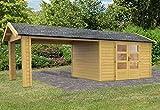 Karibu Woodfeeling Gartenhaus Thor 7 mit 1 Dachanbau 3,01 Meter Außenmaß (B x T): 304 x 304 cm Wandstärke: 28 mm Anbau: 1 Stück, 301 cm breit Bauweise: Systembauweise Ausführung: naturbelassen