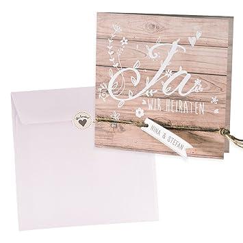 Holz Optik Einladungskarte Vroni Zur Vintage Hochzeit, 3 Stück Blanko  Hochzeitseinladungen Mit Passendem Umschlag U. Weddix Siegeletikett:  Amazon.de: Küche ...