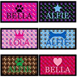 Personalised Paw & Bone Dog Bowl Mat [FULLY CUSTOMISABLE with CHOICE OF BACKGROUND, PAW, BONE, TEXT COLOUR] Custom Pet Food Mat with Name & Emoji - Personalized Dog Dish Feeding Mat - Rubber Underside