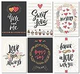 Kigima Postkarten Liebe Hochzeit Verlobung Feiern Love romantisch 24 Stück