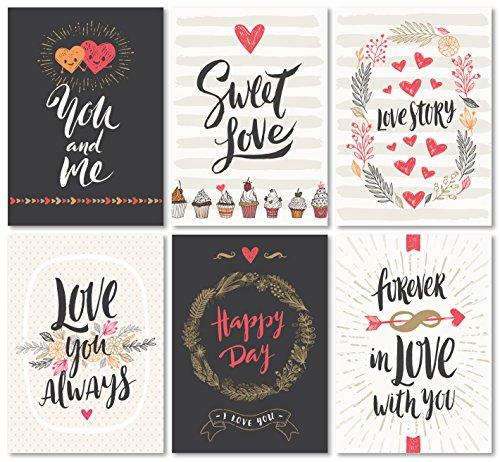 Kigima Postkarten Liebe Hochzeit Verlobung Feiern Love romantisch 52 Stück (Valentinstag Freundschaft Karten)