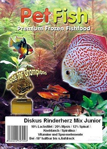 Diskus Natural - Rinderherz Mix Junior exta fein Super Jungfischfutter mit: 10% Lachsfilet / 20% Mysis / 12% Spinat / Knoblauch / Spirulina / Vitamine und Spurenelementen./ 5 kg / 50 X 100g / Quality Brine SHRIMP / Premium Frostfutter / Diskusfutter / Zierfischfutter / Fischfutter / Diskus / Fische / Meerwasser Futter / Meerwasserfutter -