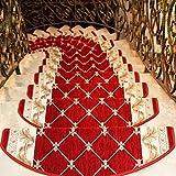 SESO UK- (6 Stück) Europäische Retro-Schritt Teppiche- Treppenstufen Teppiche, Mehrfache Größenwahlen vorhanden (Farbe : Weinrot, größe : 24 * 64cm)