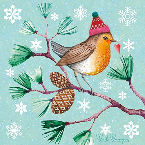 hiver Robin Flocons de neige marron 3-ply 20 Papier Serviettes de table 13 \