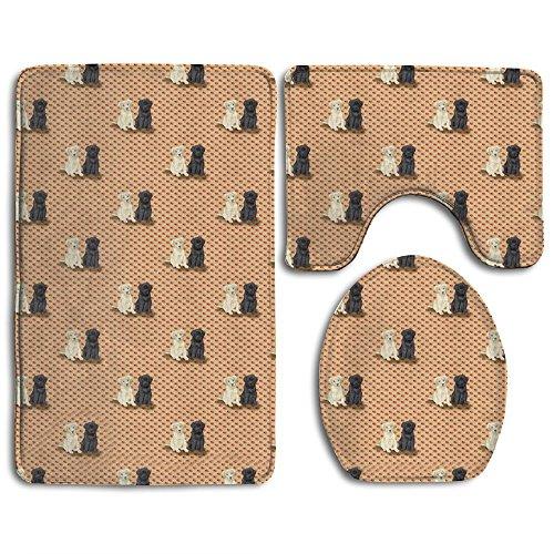 RedBeans Badteppich, Zwei sitzender Labrador Retriever Welpen auf Rot Badezimmer Teppich Teppich, Antirutschmatte 3-Teiliges Badezimmer Set (Labrador-retriever-badezimmer Sets)