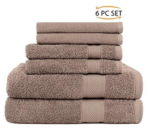 SweetNeedle - Lot de 6 serviettes à usage quotidien, Lin - 2 serviettes de bain 70x140 CM, 2 serviettes à main 50x90 CM, 2 débarbouillettes 30x30 CM - 100% coton Ringspun, poids lourd et absorba